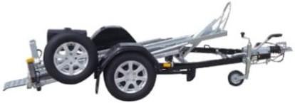 Remorques moto avec rail basculante
